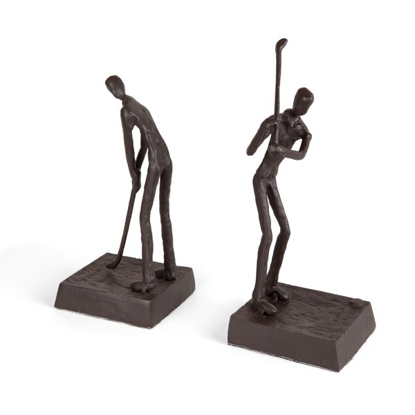 Golfers Iron Home and Office Décor Bookends (Set of 2) by Ebern Designs