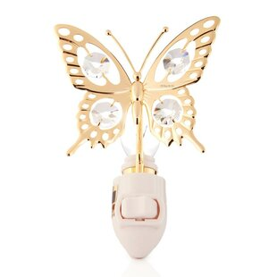 Affordable 24K Gold Plated Butterfly Night Light By Matashi Crystal