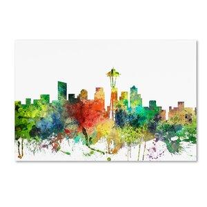 Seattle Washington Skyline SP by Marlene Watson Graphic Art on Wrapped Canvas by Trademark Fine Art