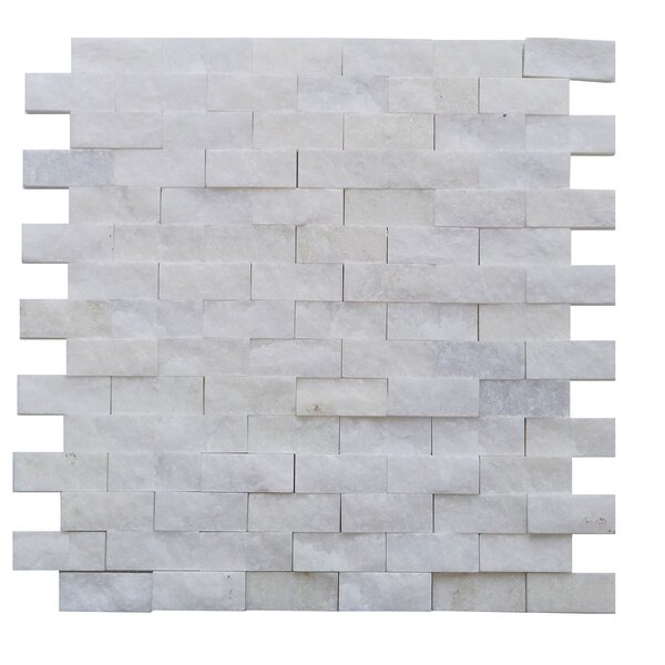 Avenue 0.75 x 1.88 Engineered Stone Splitface Tile in White by Mulia Tile