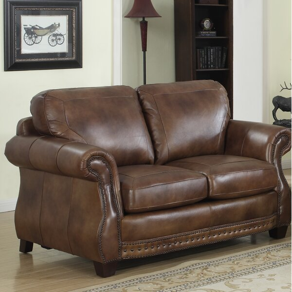 Beglin Cognac Leather Loveseat by Darby Home Co