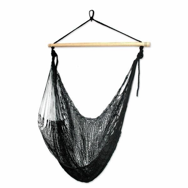 Single Person Relaxing Hand-Woven Mayan Artists of the Yucatan Nylon With Accessories Included Hammock Swing Chair by Novica