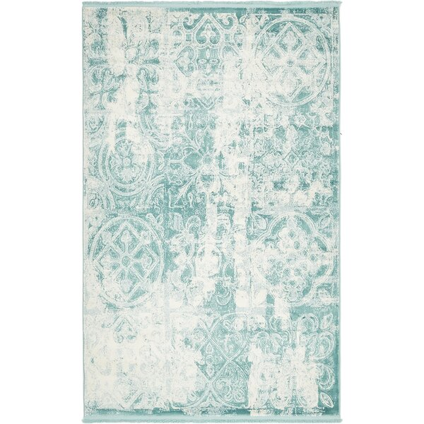 Jacobson Floral Blue Area Rug by World Menagerie
