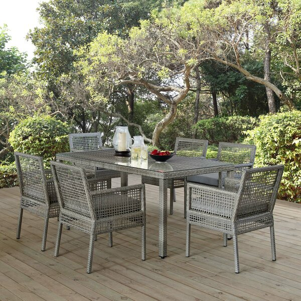 Cassiopeia 7 Piece Dining Set with Cushions by Highland Dunes