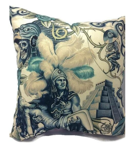 Inca Mayan Aztec Warrior Skull Throw Pillow by East Urban Home