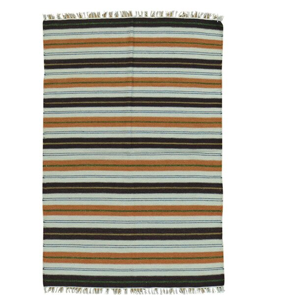 Flat Weave Durie Kilim Hand-Knotted Blue/Brown Area Rug by Bloomsbury Market