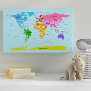World map push pin wayfair world map for kids graphic art on wrapped canvas gumiabroncs Choice Image