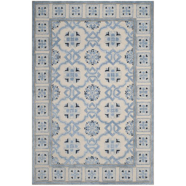 Perine Hand-Tufted Ivory Blue Area Rug by August Grove