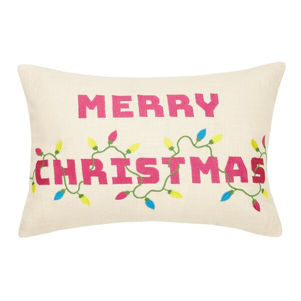 Clipper Merry Christmas Embroidered Lumbar Pillow by The Holiday Aisle