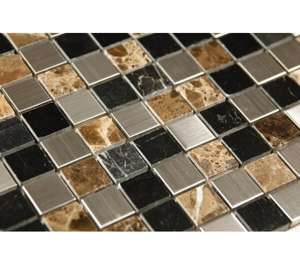 1 x 1 Mixed Material Mosaic Tile in Black/Brown by Luxsurface
