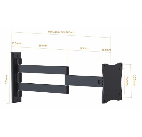 Vesa Tilt / Swivel Wall Mount for 13-27 TV Screen by Arrowmounts