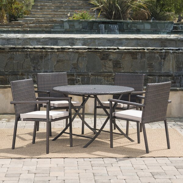 Brooke Outdoor Wicker 5 Piece Dining Set with Cushions by Ivy Bronx