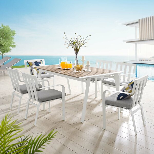 Mihram 7 Piece Dining Set With Cushions By Ebern Designs