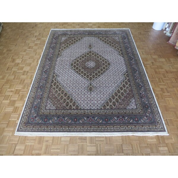 One-of-a-Kind Raiden Hand-Knotted Wool Ivory/Light Blue Area Rug by Astoria Grand