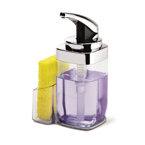 22 oz. Square Push Soap Pump with Caddy, Chrome by simplehuman