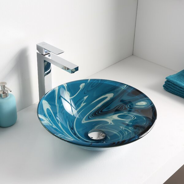 Symphony Glass Circular Vessel Bathroom Sink by ANZZI