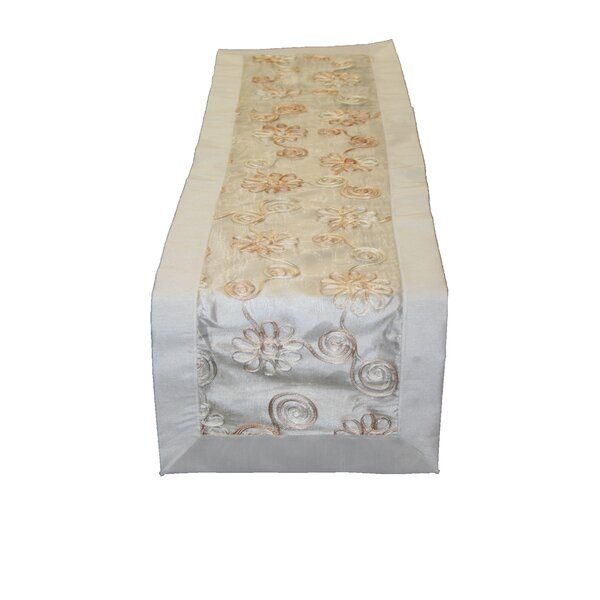 Emerald Embroidered Peach Ribbon Table Runner by Violet Linen