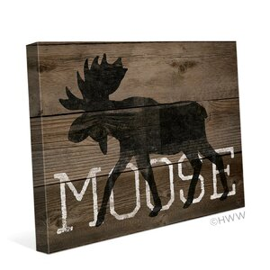 Moose Silhouette Graphic Art on Wrapped Canvas by Click Wall Art