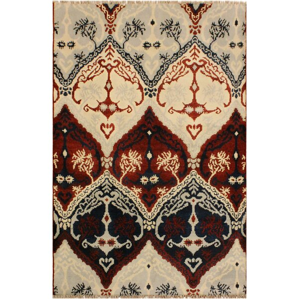 One-of-a-Kind Lusk Hand Knotted Wool Burgundy/Ivory Area Rug by World Menagerie