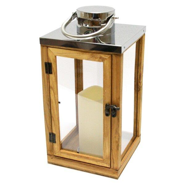 Wood and Glass Lantern by Northlight Seasonal