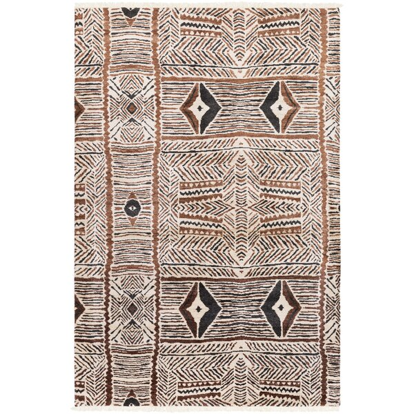 Seline Hand-Knotted Neutral/Brown Area Rug by Bloomsbury Market