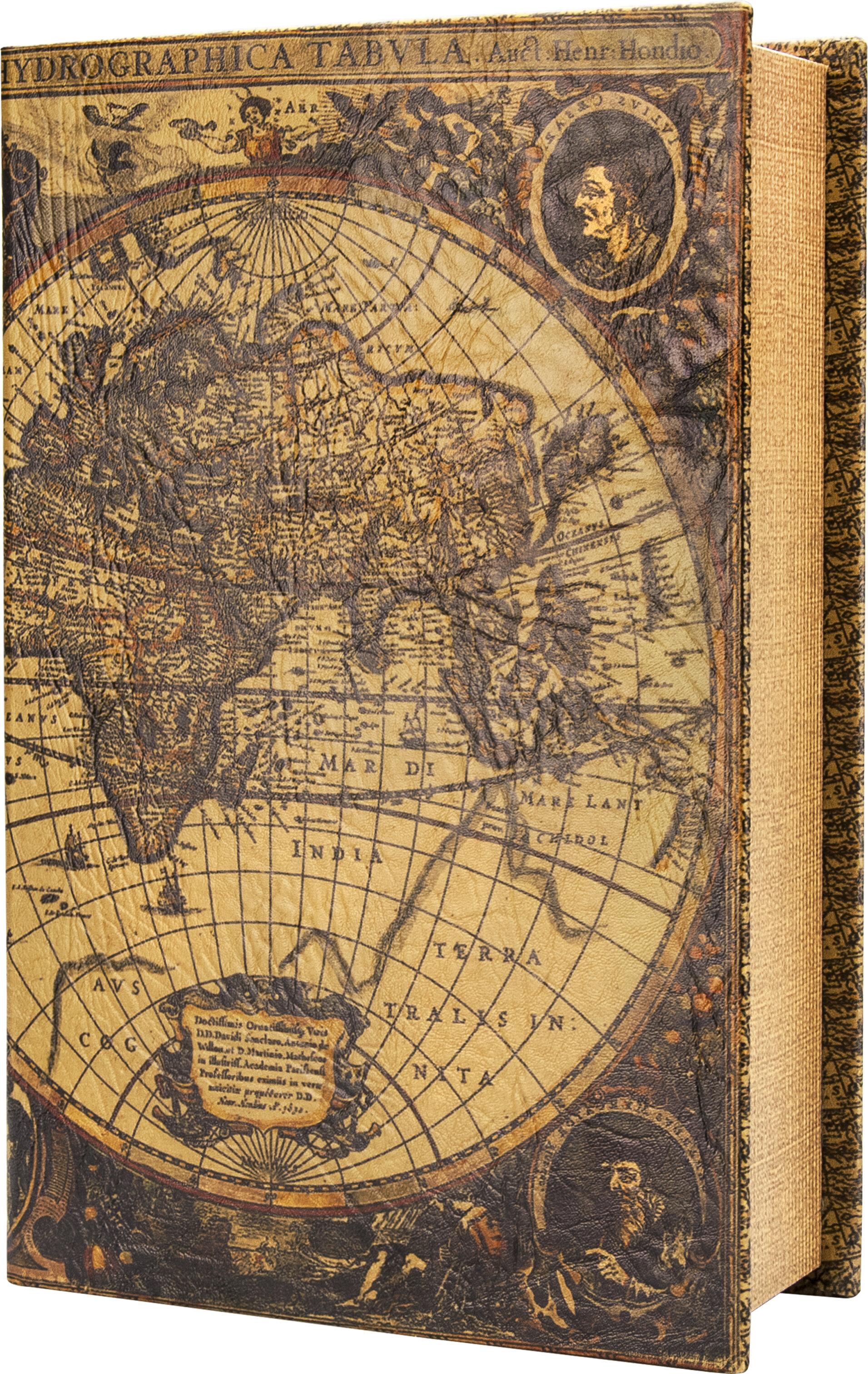 Barska Antique Map Book Cash Box With Key Lock Wayfair - Antique map box