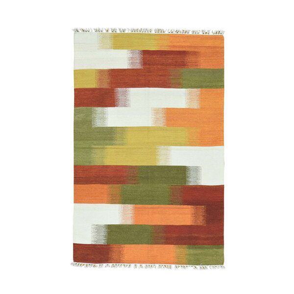 Durie Kilim Flat Weave Hand-Knotted Yellow/Green/Orange Area Rug by Bloomsbury Market