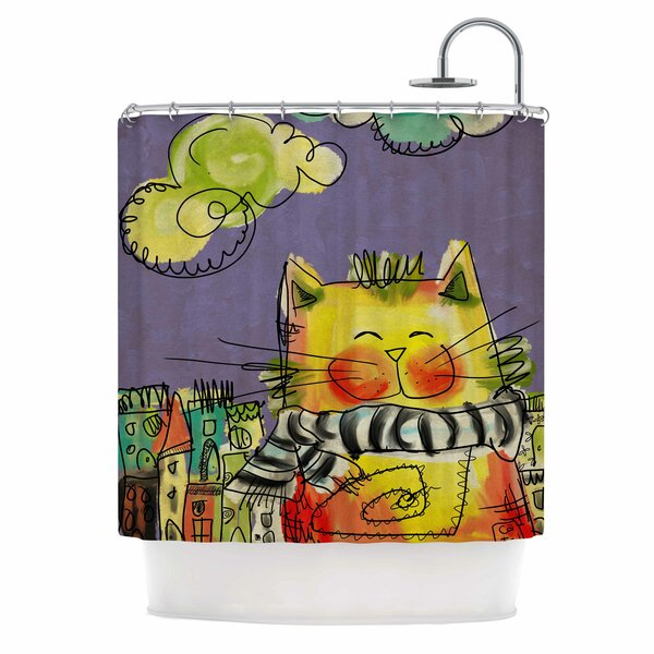 Carina Povarchik Urban Cat with Scarf Illustration Shower Curtain by East Urban Home
