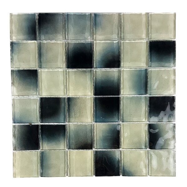 Watermarks 2 x 2 Glass Mosaic Tile in Black/White by Abolos