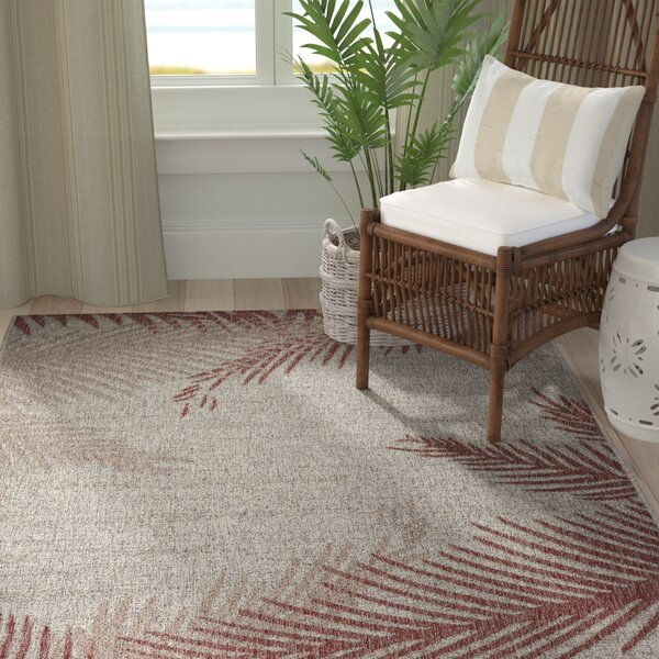 Weilers Blushing Palms Red/Gray Indoor/Outdoor Area Rug by Bay Isle Home