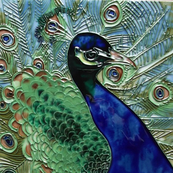 Blue and Green Peacock Tile Wall Decor by Continental Art Center