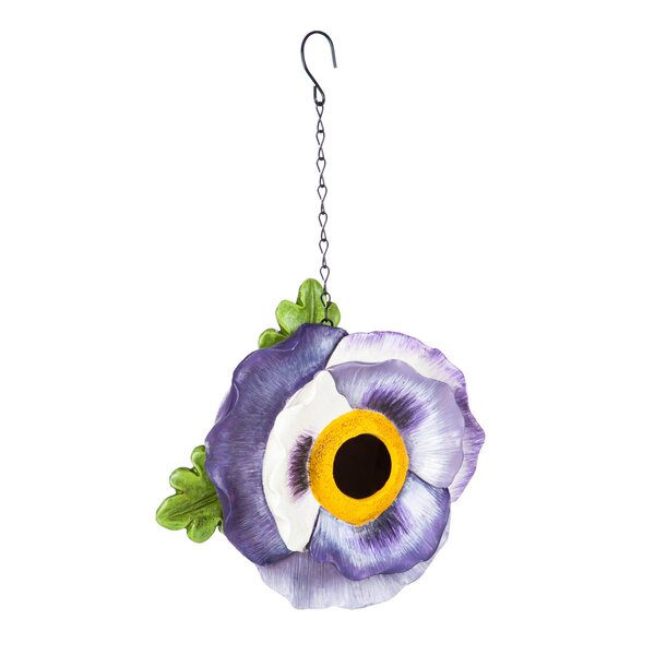 Pansy 7 in x 7 in x 4 in Birdhouse by Evergreen Flag & Garden
