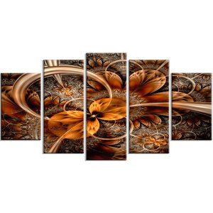 'Dark Orange Fractal Flower' Oil Painting Print Multi-Piece Image on Canvas by Design Art