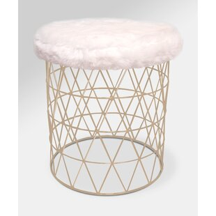 McCarty Modern Furry Round Vanity Stool by Mercer41