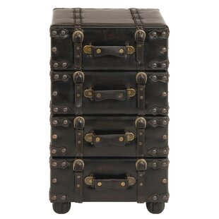 Aukerman Wood Leather Side Chest