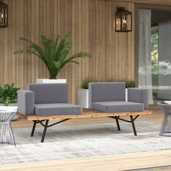 Linch Teak Patio Sofa with Cushions by Mercury Row