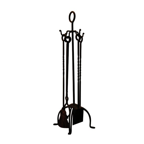 4 Piece Wrought Iron FirePlace Tool Set by Artesano Iron Works
