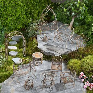 Miniature Metal Furniture 11 Piece Fairy Garden Set