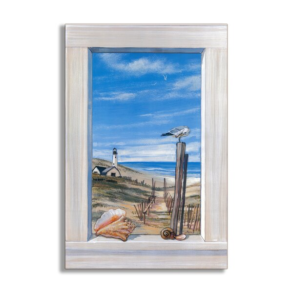 Ocean with Seagulls Faux Window Scene Painting Wall Plaque by Stupell Industries