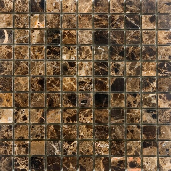 1 x 1 Marble Mosaic Tile in Polished Brown by Epoch Architectural Surfaces