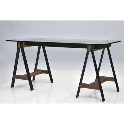 Menelaus A Frame Reclaimed Solid Elm Wood Writing Desk With Tempered Glass  Top