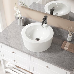 Affordable Price Vitreous China Circular Vessel Bathroom Sink with Faucet and Overflow ByMR Direct