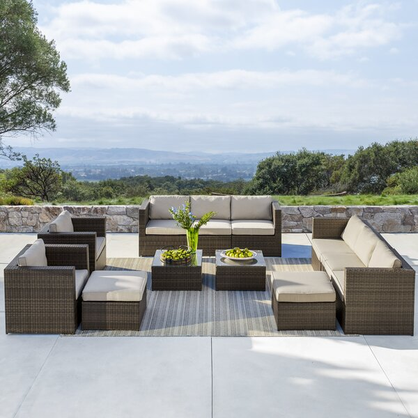 Midland 12 Piece Rattan Sectional Seating Group with Cushions by Sol 72 Outdoor