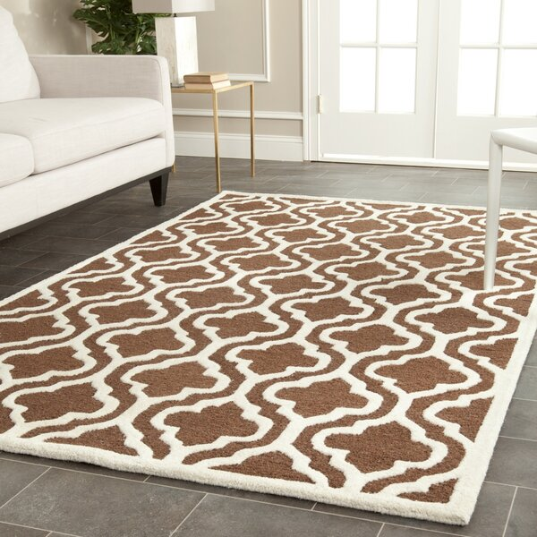 Martins Dark Brown/Ivory Area Rug by Wrought Studio