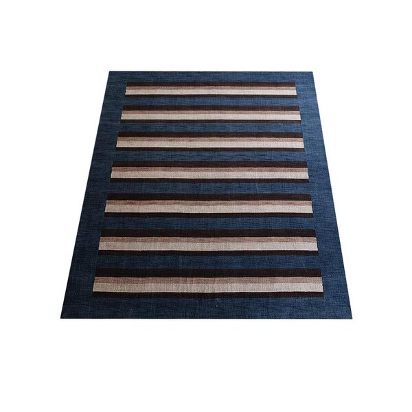 Ry Hand-Knotted Wool Blue/Brown Area Rug by Latitude Run