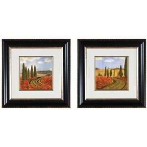 Poppies Di Toscana 2 Piece Framed Drawing Print Set (Set of 2) by PTM