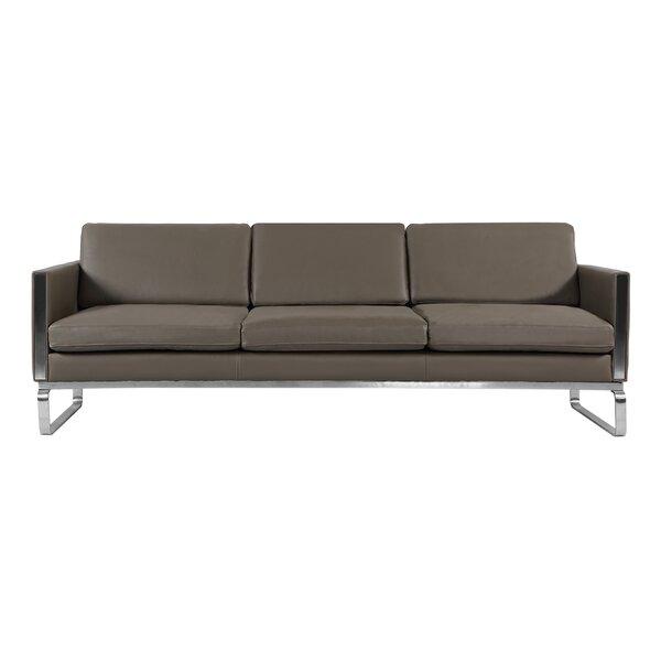 Yunior Mid Century Modern Leather Sofa by Orren Ellis