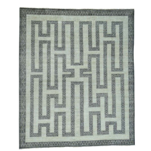 Maze Berber Influence Hand-Knotted Ivory/Dark Gray Area Rug by Bloomsbury Market