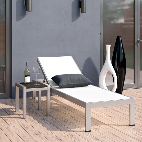 Coline Outdoor Patio Reclining Chaise Lounge with Table by Orren Ellis Orren Ellis