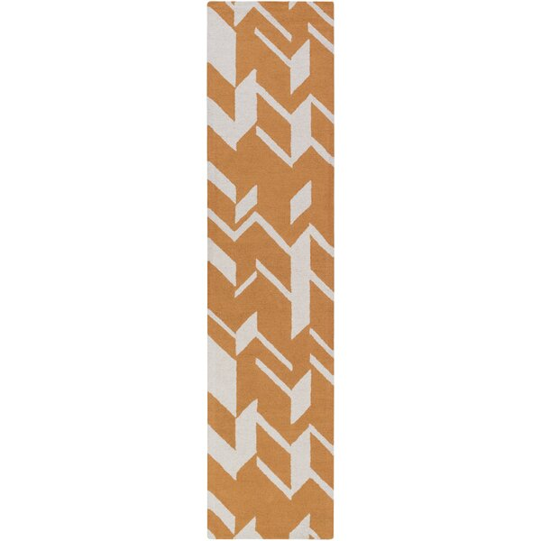 Youmans Hand-Crafted Orange/White Area Rug by George Oliver